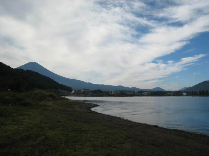 Mount Fuji partially visible on the shores of Lake Kawaguchi