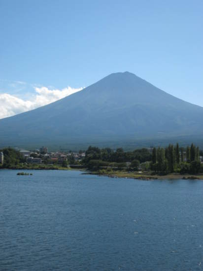 Mount Fuji seen from the bridge accross Lake Kawaguchi