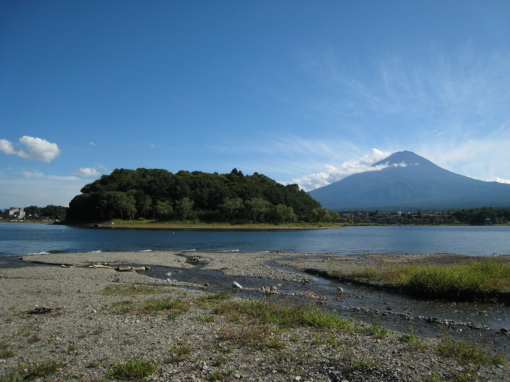 Looking towards an island on Lake Kawaguchi