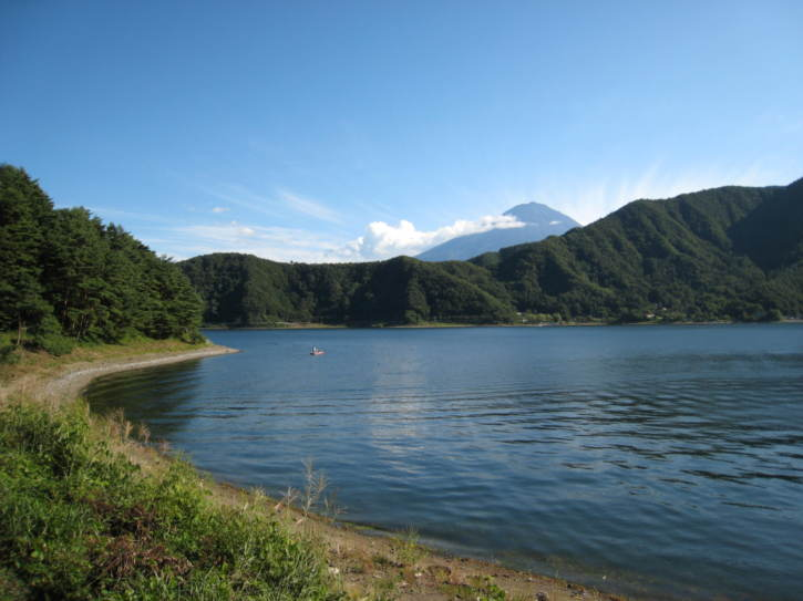 View from the southwest shore of Lake Kawaguchi