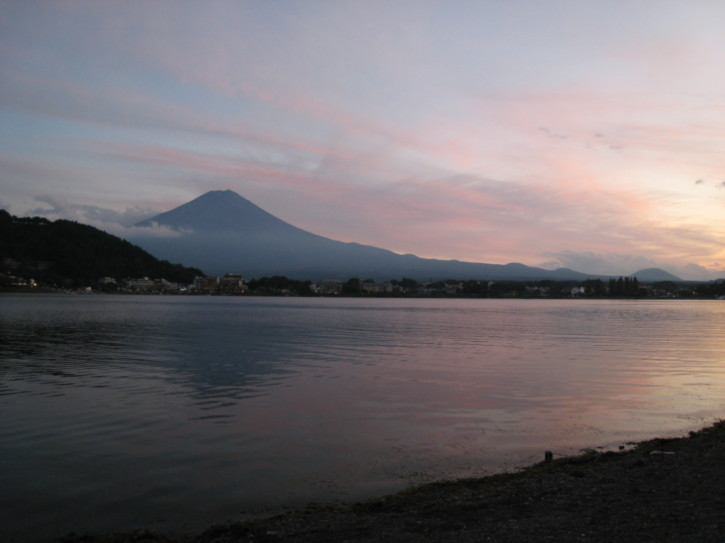 Mount Fuji seen over Lake Kawaguchi at sunset