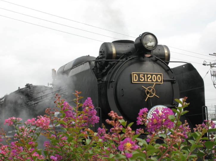 Old steam locomotive, after hauling a special nostalgia train