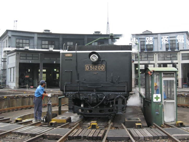 Old steam locomotive on the turntable