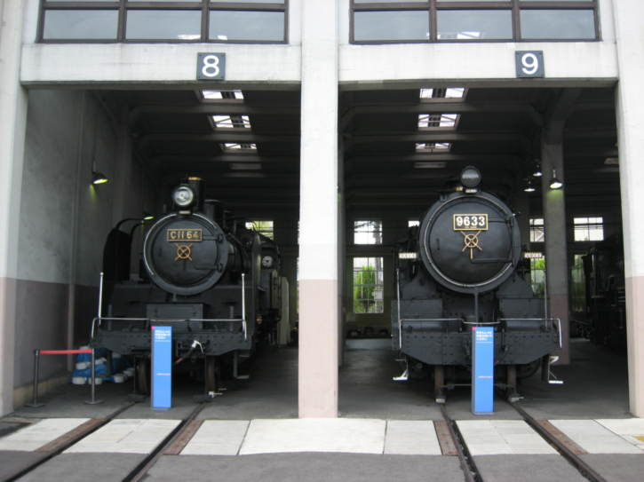 Two locomotives in the engine shed