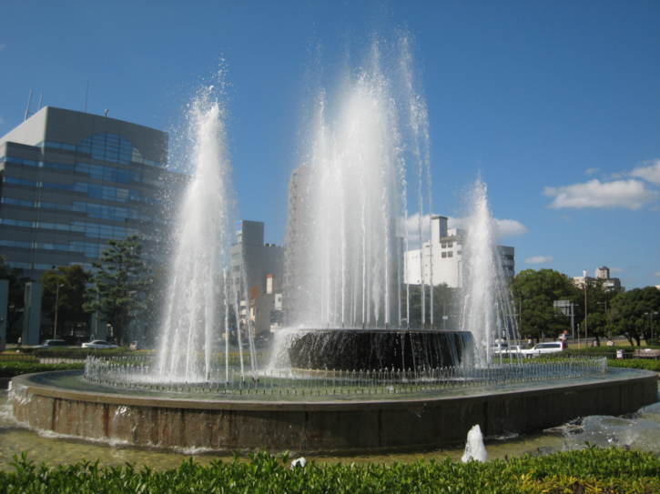 Fountain outside the peace memorial park by