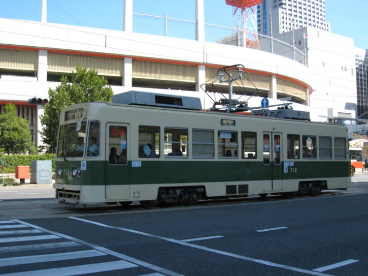 One of the many Hiroshima trams