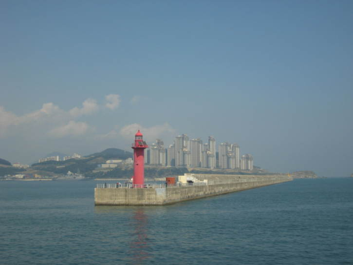 Approaching Busan by boat