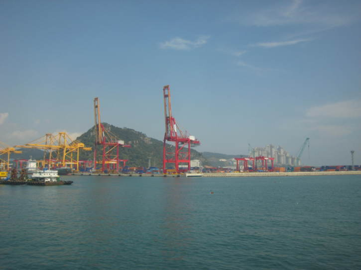 Busan port, seen from a boat