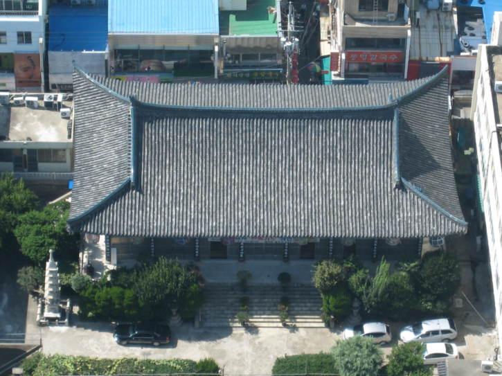 Looking down on a temple from Busan Tower