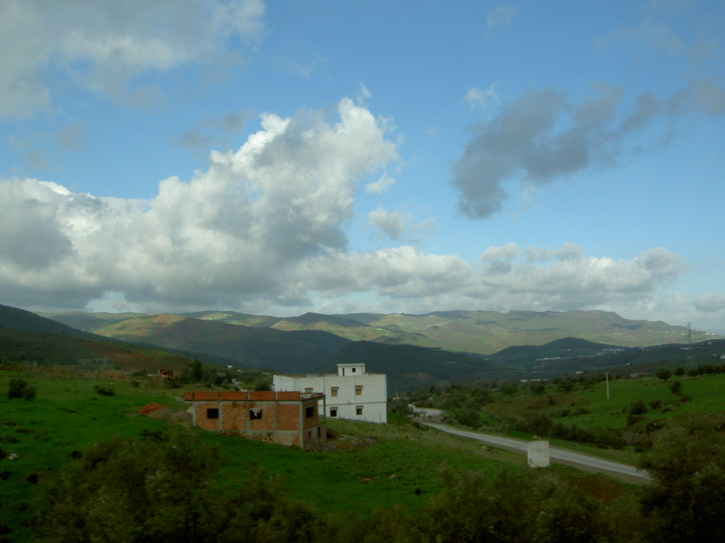 Buildings in the countryside on the journey