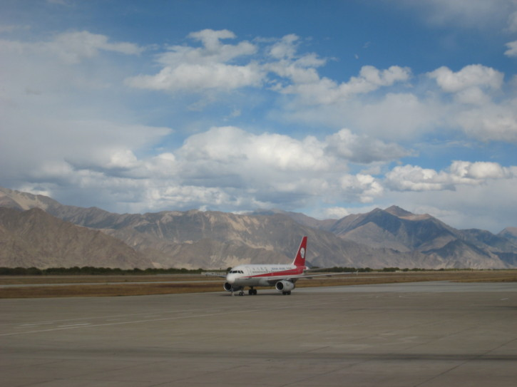 A plane at Lhasa airport