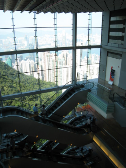 Escalators to/from the viewing platform on the top