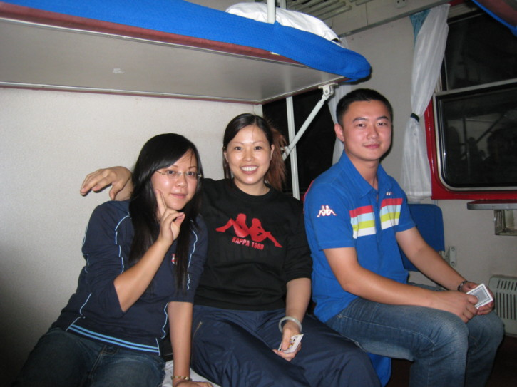 Three Chinese friends in my compartment