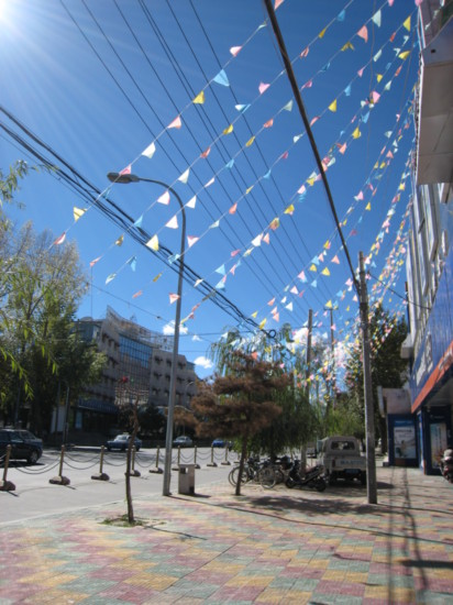 Prayer flags along the shopping street