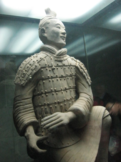 A warrior in a display cabinet