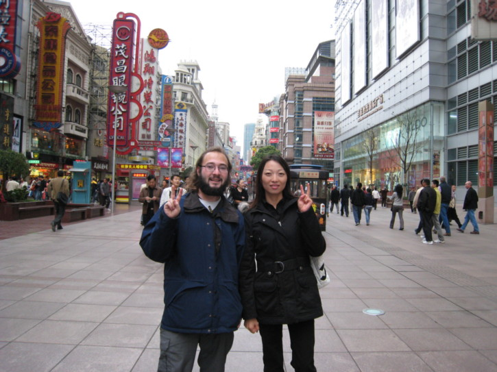 With with a Chinese lady on Nanjing Road