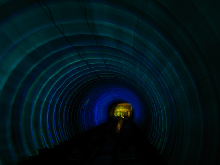 In the Bund-Pudong Tourist Tunnel