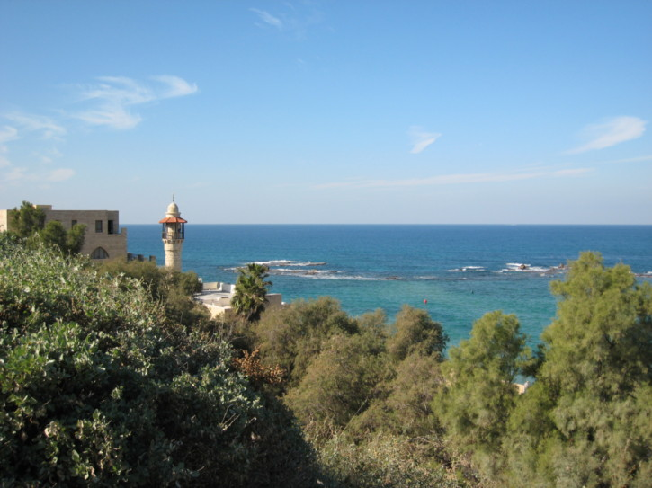Mosque minaret and the sea