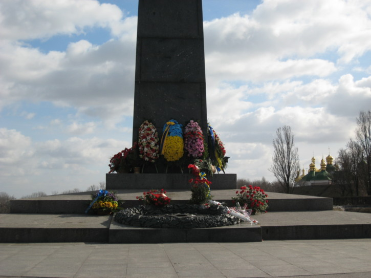 Flowers left at the monument
