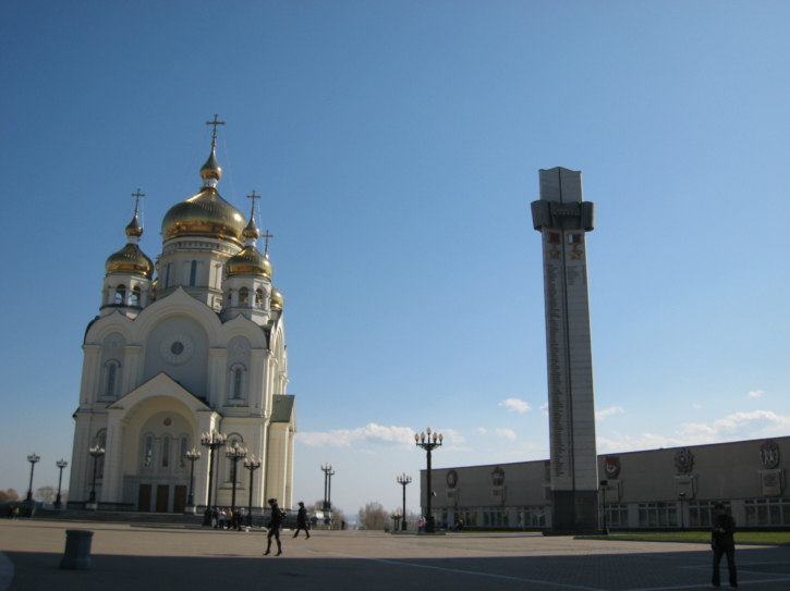 Church of the Transfiguration and obilisk with Order of Lenin