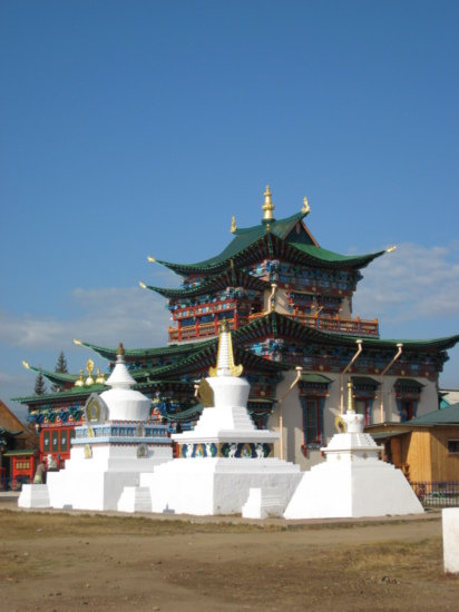 Temple with stupas in front of it