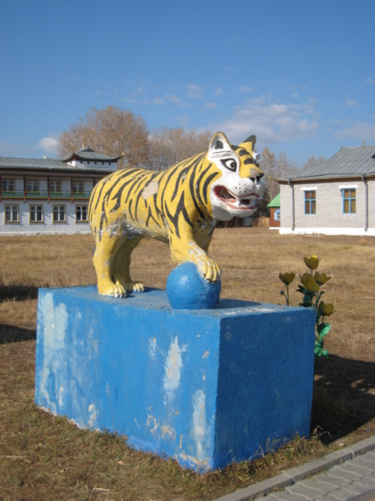 Tiger by the a temple