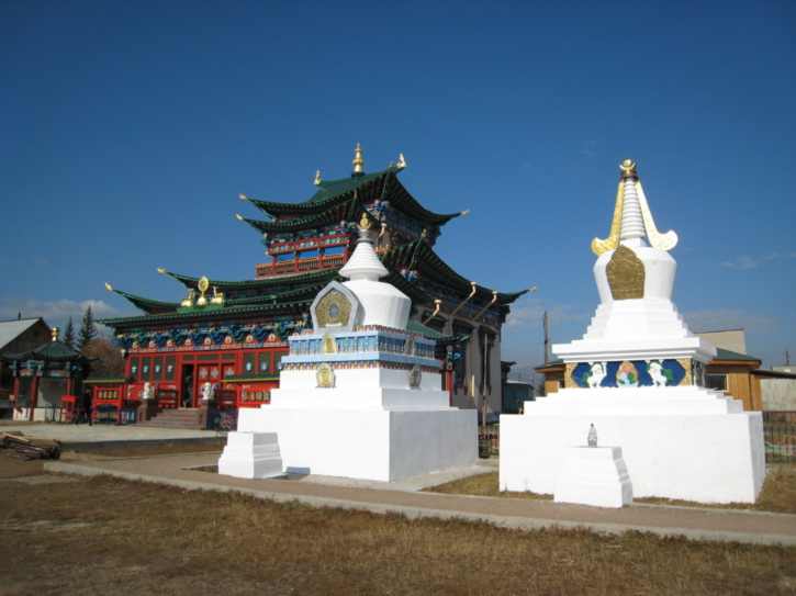 Some large stupas with a temple