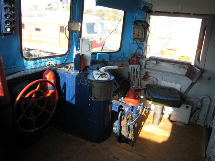 Cab of a diesel locomotive