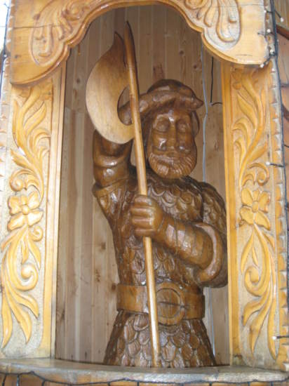 Wooden carving of fairytale character