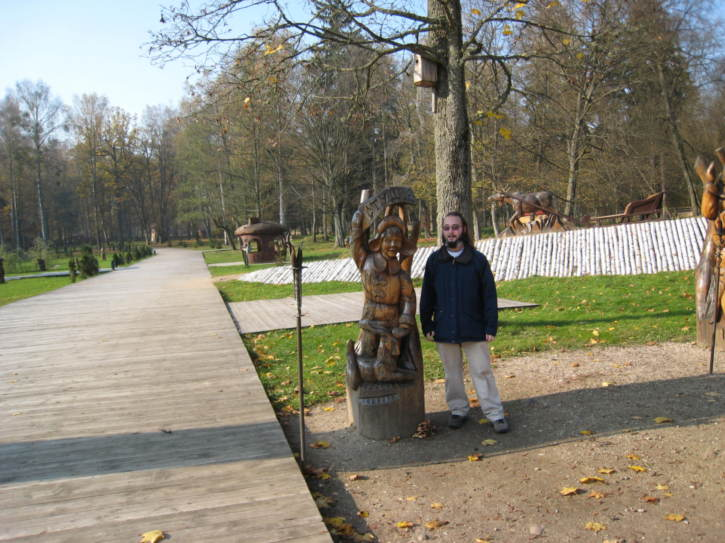 "Me with the ""January"" statue, from a Belorussian fairytable"