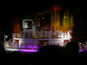 A boat full of Disney characters