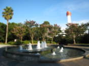 Fountain on approach to the bay area promenade