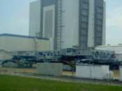 The shuttle transporter outside the VAB