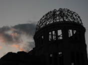 A-bomb dome as the night sets in