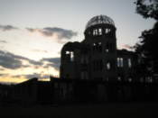 A-bomb building as the sun sets