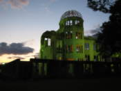 A-bomb building lit up at night