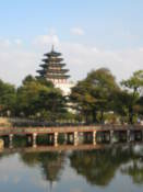 Pagoda and Chwihyanggyo bridge at Gyeongbokgung Palace
