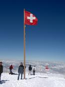 Me on the snow with the Swiss flag