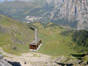 The cable car down from Birg to Murren
