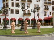 Some statues in the town center