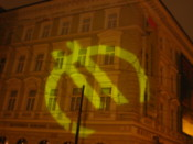 Euro symbol projected on a building