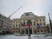 Slovak National Theater on a slightly snowy day