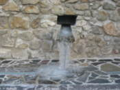Frozen water outlet at Devin Castle