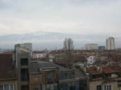The Vitosha mountain barely visible through the clouds