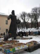 Statue of Federov, who brought printing to Ukraine