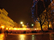 Ice rink on Rynok Square by night