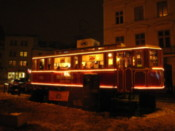 The beer tram carriage by night